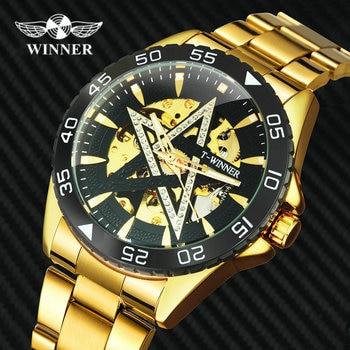 цена на WINNER Official Luxury Mechanical Watch Automatic Steel Bracelet Skeleton Watches Men Diamond Iced Out Wristwatch Wholesale
