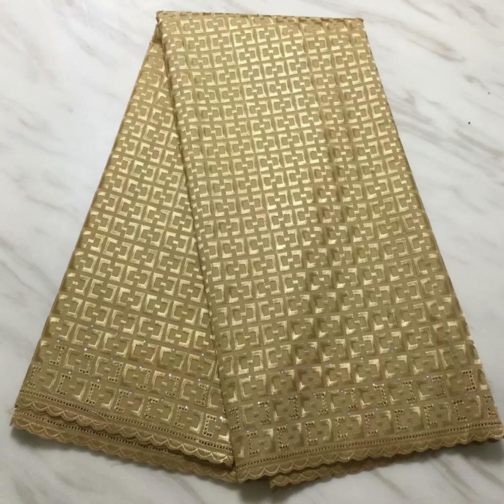 Новый дизайн Золотая нигерийская кружевная ткань высокого качества Швейцарский