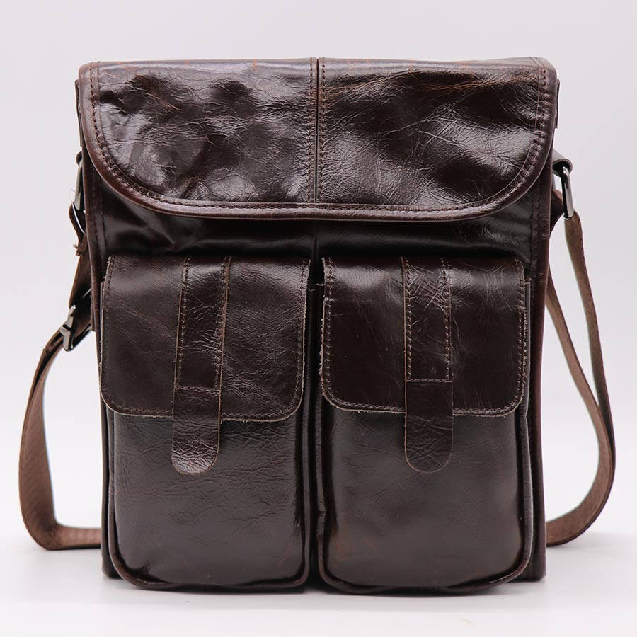 GO LUCK Brand Genuine Leather Casual Business Shoulder Bag Men 39 s Messenger Bags Men Crossbody Ipad Pack Hot Sale in Crossbody Bags from Luggage amp Bags
