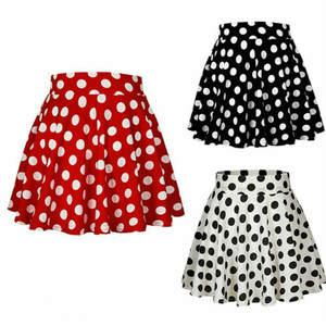 Short Skirts Clothings White Mini Women Tutu Sundress Polka-Dot Black Girl Casual Ladies