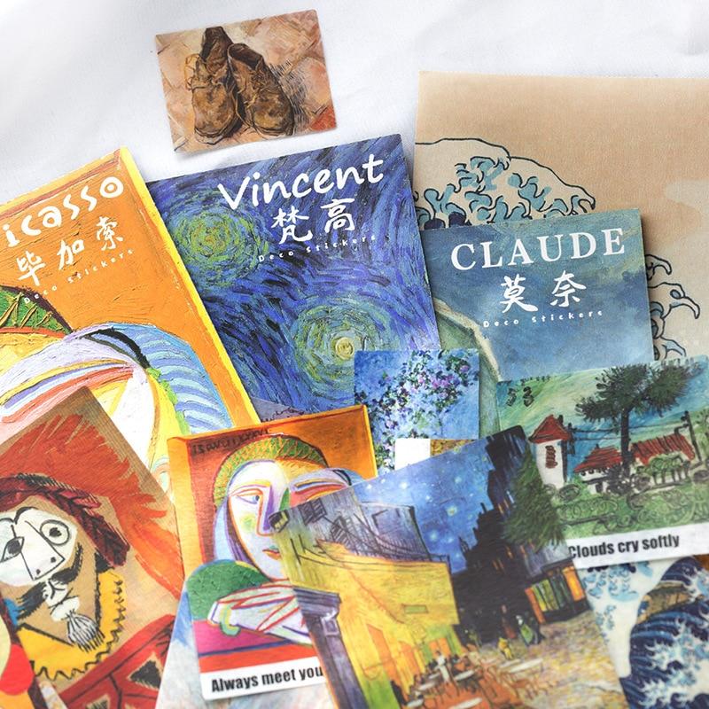 40pcs/pack Vincent Van Gogh Claude Monet Artwork Sticker Decoration Diy Scrapbooking Stickers Stationery Kawaii Diary Label