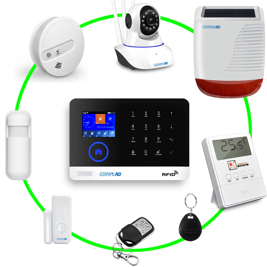 Wifi GSM APP RFID Wirelesss home security gsm alarm system touch keyboard 433MHz door detector infrared sensor alarm PG-103 W2B
