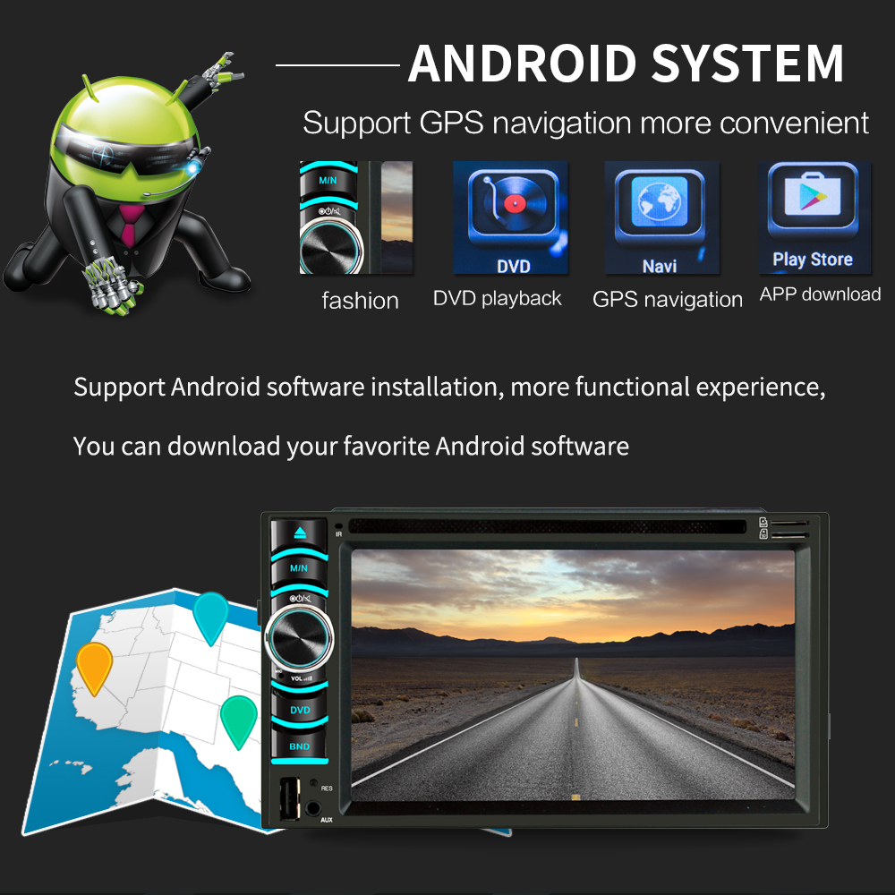 Image 4 - 6.2 Inch Android Car GPS Navigation 2 Din Autoradio Radio Universal Car Multimedia Player DVD BT FM Mirrorlink Stereo Audio 6116-in Vehicle GPS from Automobiles & Motorcycles