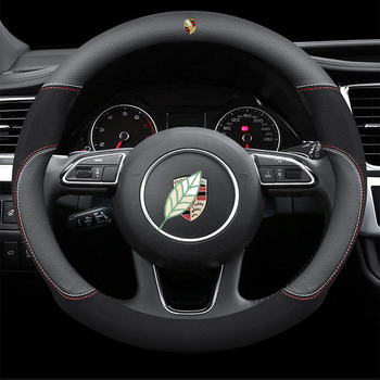Genuine Leather Car Steering Wheel Cover 15 Inch/38cm for Porsche 718 911 Cayenne Cayman Macan Boxster Taycan Accessories 1