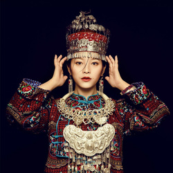 9 Designs Antique Old-Processed Handmade Ethnic Fashion Miao Silver Hair Tiaras Flower Hat for Stage Performance or Photography