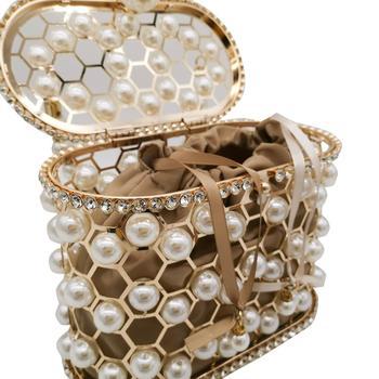 Pearl Beaded Evening Bucket Diamond Clutch  6
