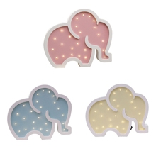 Cute Wooden Elephant Shaped LED Light Creative Wall Hanging Ornaments Night Lamp