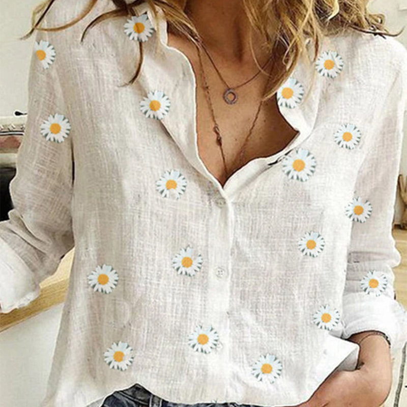 Womens Small Daisies Shirts Long Sleeve Print White Shirt Button V Neck Cardigan Loose Tops 2020 Summer Spring Oversized Shirt