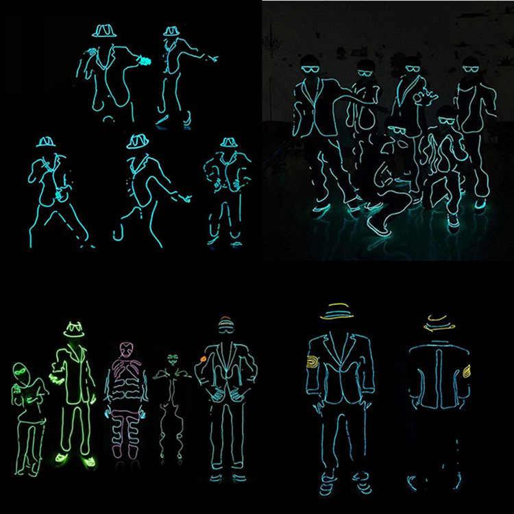 1M El drutu wodoodporna taśma LED światła Neon lampa światła linka rury kabel + kontroler baterii Party klub samochodu dekoracji