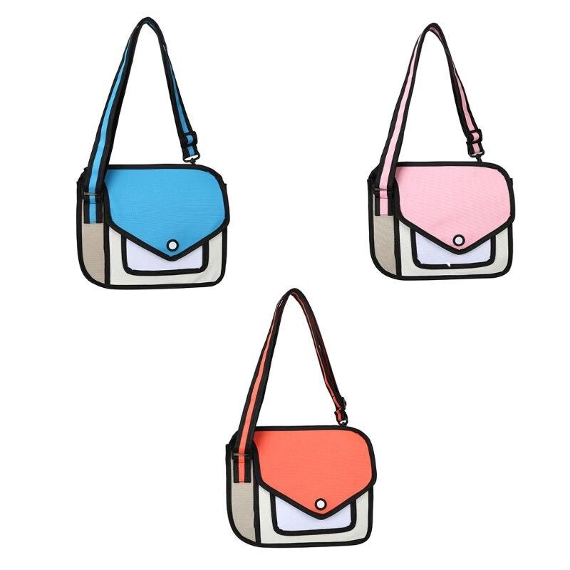 Женская сумка через плечо 2D, школьная сумка с объемным рисунком, мультяшная бумажная сумка через плечо Сумки с ручками      АлиЭкспресс