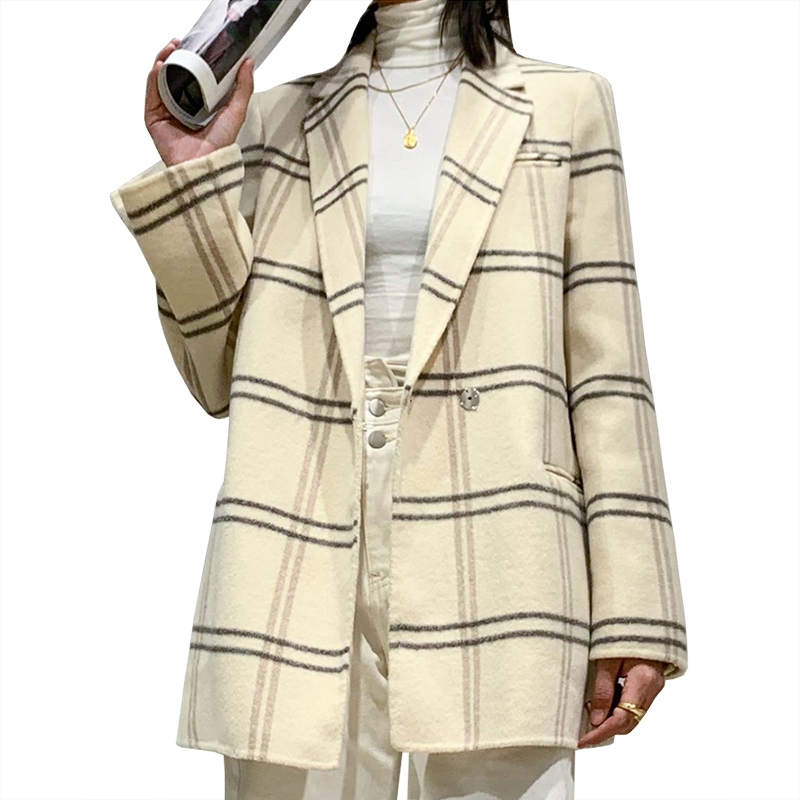 Winter Coats Women Wool White Grey Plaid Oversize Office Elegant Suits Woolen Elegant Outerwear Formal Woollen Fleece Overcoat