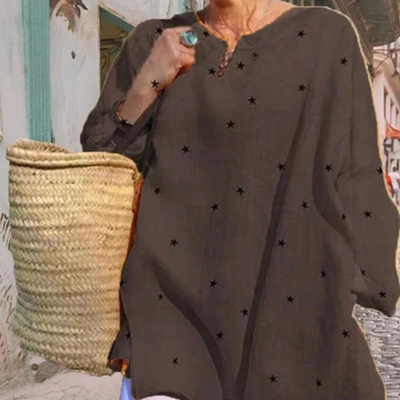 Jocoo Jolee Long Sleeve V Neck Stars Print Loose Blouse Casual Oversized Shirt 2020 New Elegant Tops Ladies Clothing 7