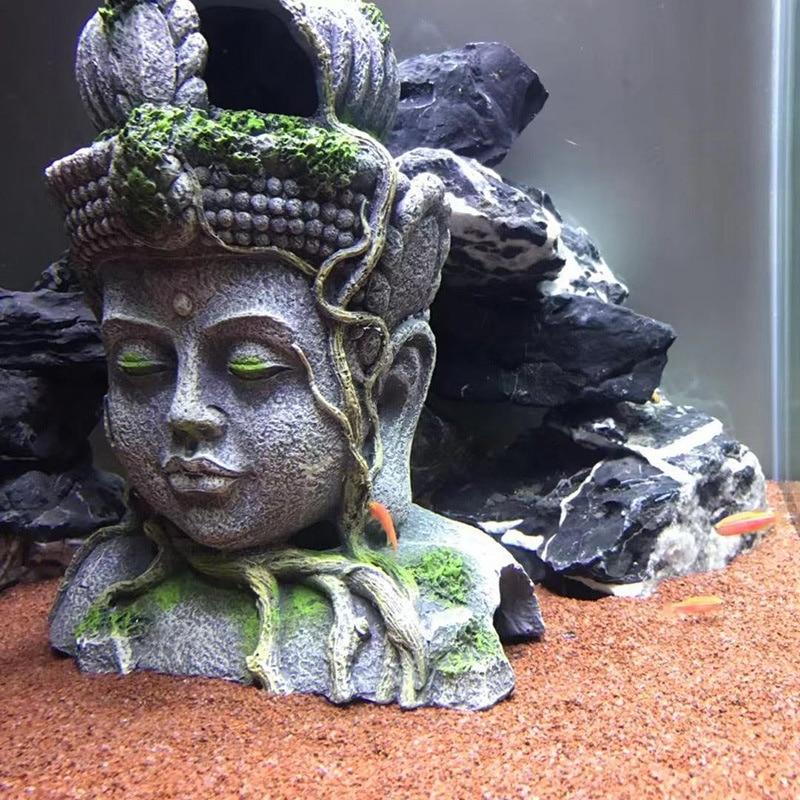 Аквариумный камень, украшение Будды, ретро фигурки, смола, аквариум для рыбы, рептилия, укрытие, пещера, декорация, аксессуары