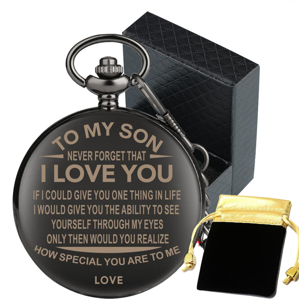 Birthday Gifts Pocket Watch To My Son Special Pendant Smooth Black Pocket Clock Graduation Present With Gift Box Storage Bag