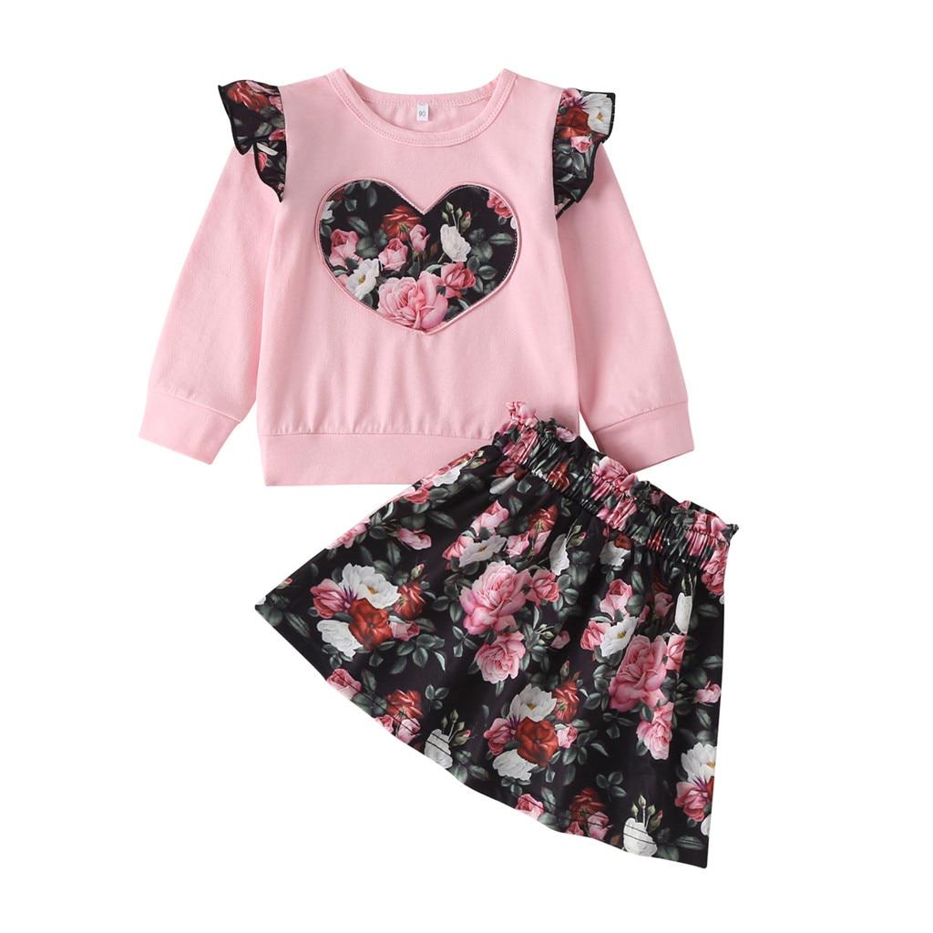 Baby Girls Summer Dresses Short Sleeve Cute Heart Printed Toddler Kids Beach Dress