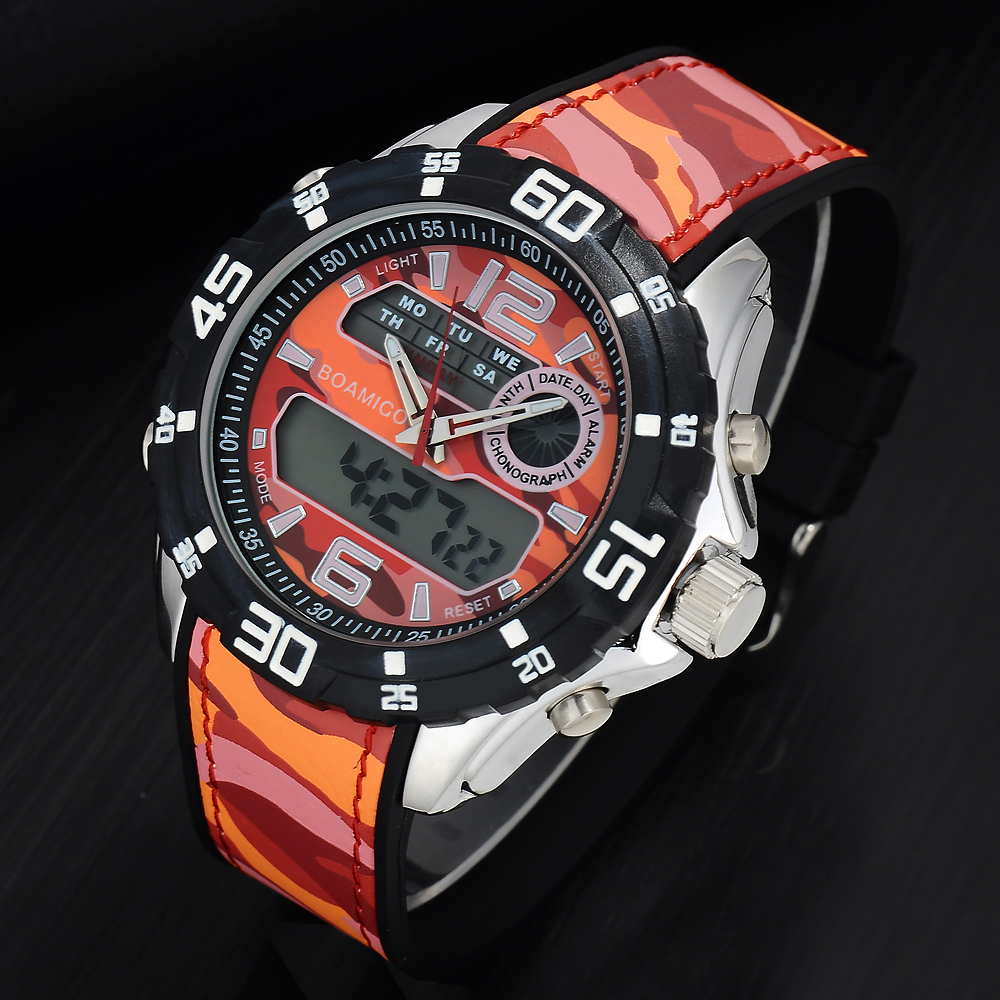 BOAMIGO  Mens Watches Men Military Digital Analog Quartz Chronograph Sport Watch Waterproof Rubber Wristwatch Relogio Masculino