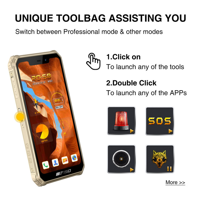 F150 B2021 6GB+64GB IP68 Waterproof Rugged Smartphone 8000mAh 5.86'' Helio G25 Octa Core 13MP Quad Camera Mobile Phone 4