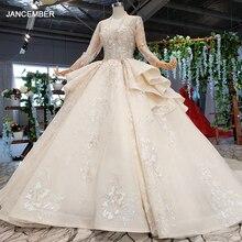 HTL958 luksusowa suknia balowa suknie ślubne katedra dekolt aplikacje suknie ślubne przycisk powrót szampana vestidos novias boda 2020
