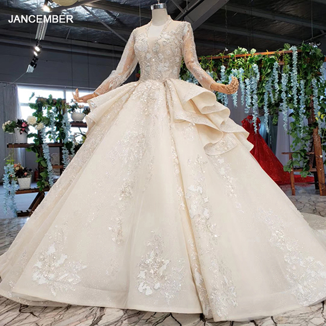 HTL958 luxury ball gown wedding dresses cathedral v neck appliques wedding gowns button back champagne vestidos novias boda 2020