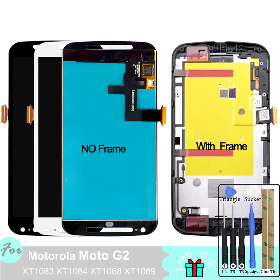 LCD <font><b>Display</b></font> For <font><b>Motorola</b></font> MOTO G2 XT1063 XT1064 <font><b>XT1068</b></font> XT1069 Touch Screen Digitizer Panel Replacement Parts Assembly image