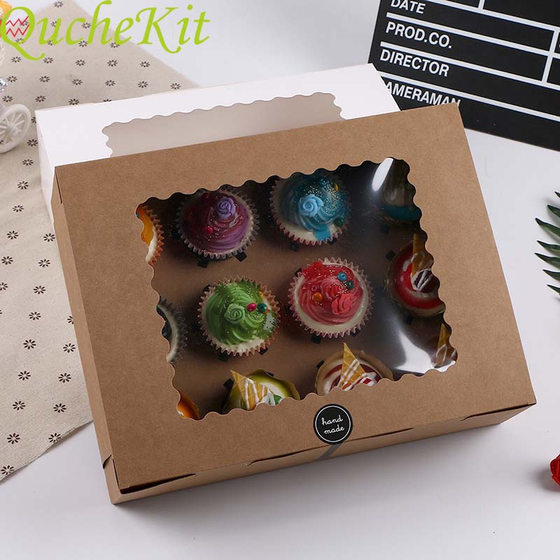 5pcs 12 Cup Muffin Cupcake Box With Cake Tray Kraft Paper Cake Box Wedding Birthday Party Dessert Packaging Case Party Candy Box
