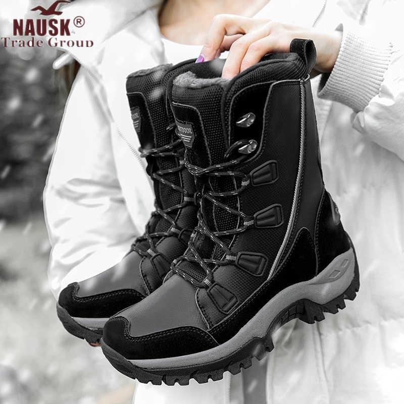 NAUSK รองเท้าผู้หญิงอบอุ่นฤดูหนาวกันน้ำ MID-CALF สุภาพสตรี Booties สีดำ PLUS ขนาด PU หนังรองเท้าผู้หญิง botas Mujer