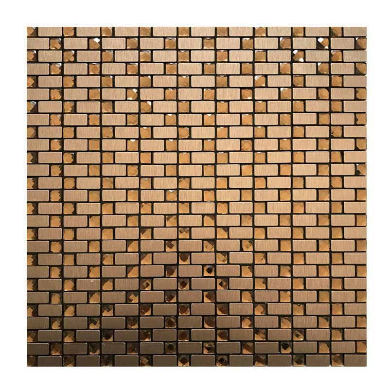 10*20 Mm Bronze Brushed + Tea Drill Metal Aluminum Plate Mosaic Wall Stickers Background Wallpaper