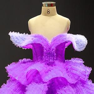 Image 5 - J66905 Jancember Blume Mädchen Kleider 2020 Lila V Neck Cap Sleeve Tiered Mädchen Abendkleider платье для девочек communie jurk