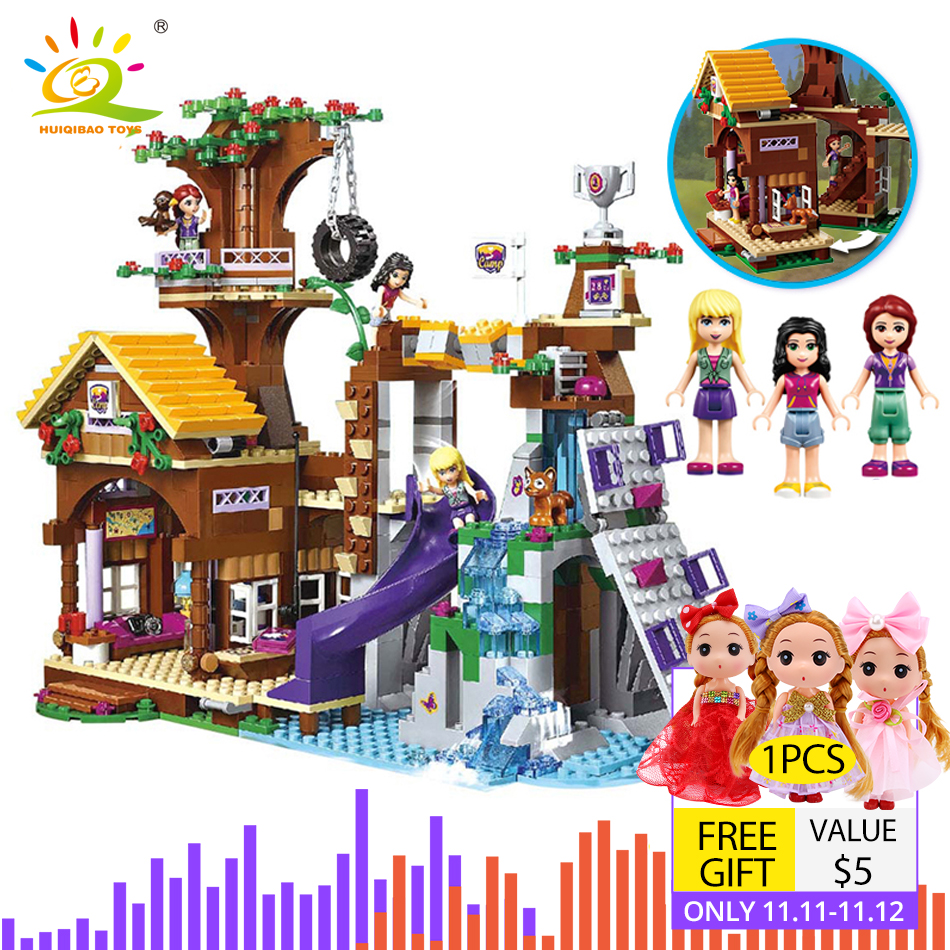 739pcs Friends Adventure Camp Tree House Building Blocks Compatible City Girl Figure Bricks Educational Toy For Children
