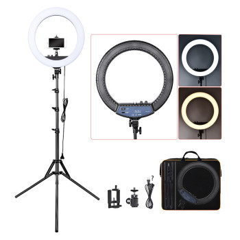 FOSOTO RL-18II Photographic Lighting led Ring Light 18 Inch Ringlight 55W Ring Lamp With Tripod For Camera Phone Makeup Youtube