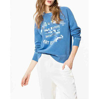 Women Hoodie Fall Winter New Blue Wash Pink Letter Print White Cotton Sweatshirt