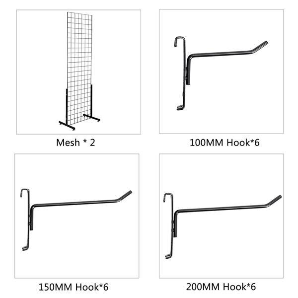 2pcs 5mm Grid Rack Wall Storage Shelf Iron Mesh Frame Multi function Wall Mounted Mesh Panel Wall Art Display Organizer - 6