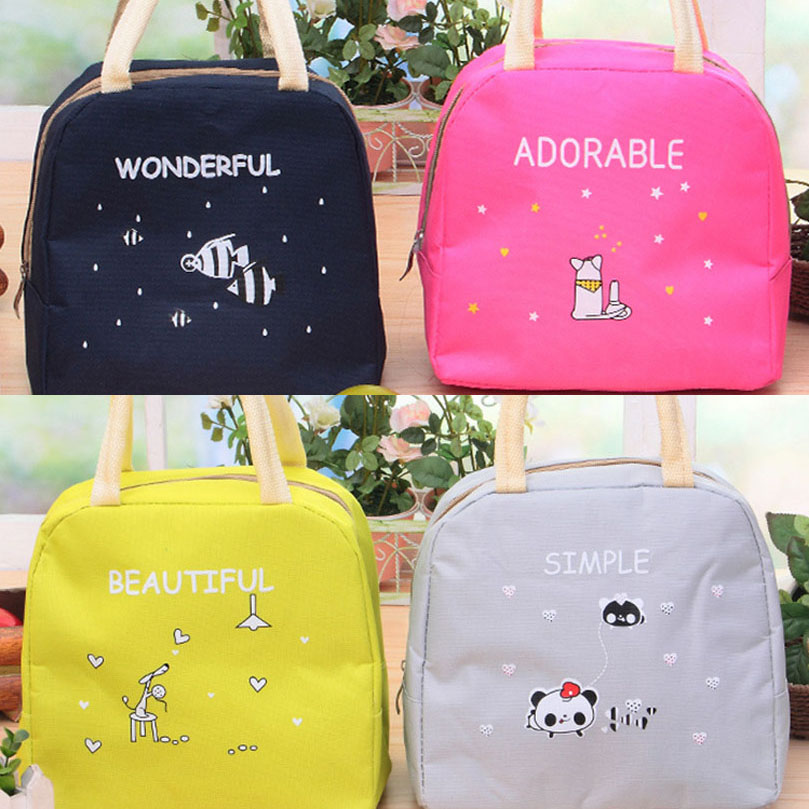Portable Insulated Thermal Cooler Bento Cartoon Lunch Box Tote Picnic Storage Bag Pouch Lunch Bags