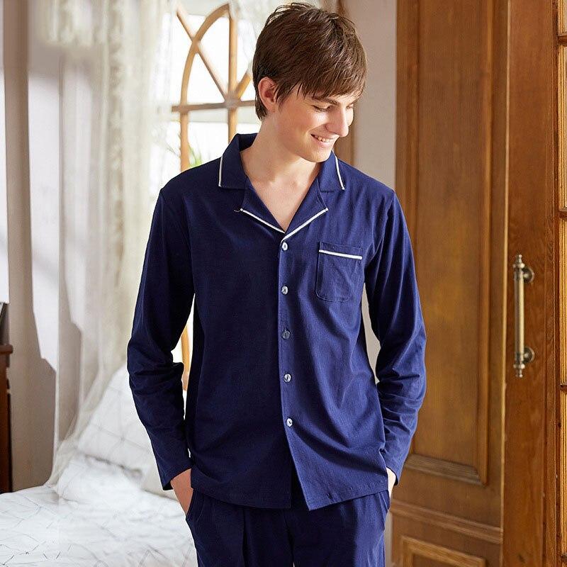 Men Pajamas Set Cotton Sleepwear Solid Color Nightwear Long Sleeved Sleep Clothing Casual Nighties Autumn Male Lounge
