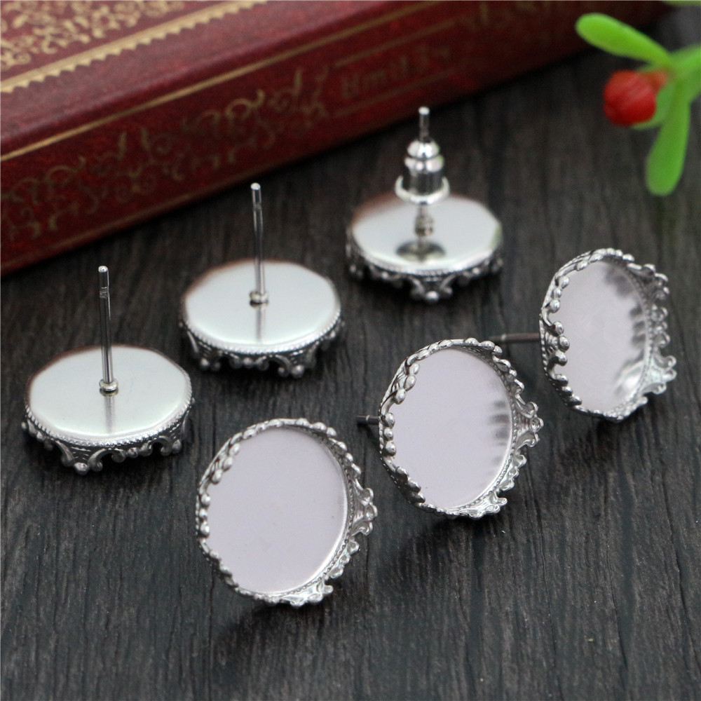 ( No Fade ) 12mm 20pcs Stainless Steel Earring Studs,Earrings Blank/Base,Fit 12mm Glass Cabochons,Buttons;Earring Bezels (L2-37)