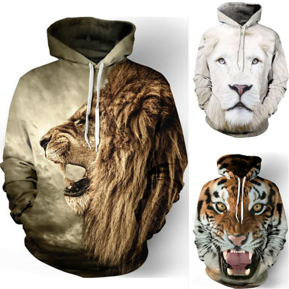 Mens <font><b>Hoodies</b></font> Funny <font><b>3D</b></font> Tiger Lion Print <font><b>Animals</b></font> Sweatshirt Casual Loose Pocket Long Sleeve Winter Men <font><b>Hoodies</b></font> <font><b>Unisex</b></font> Pullovers image