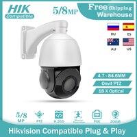 Telecamera IP compatibile Hikvision PTZ 5MP 8MP 18X Zoom H265 POE CCTV sicurezza esterna Speed Dome videocamera con staffa