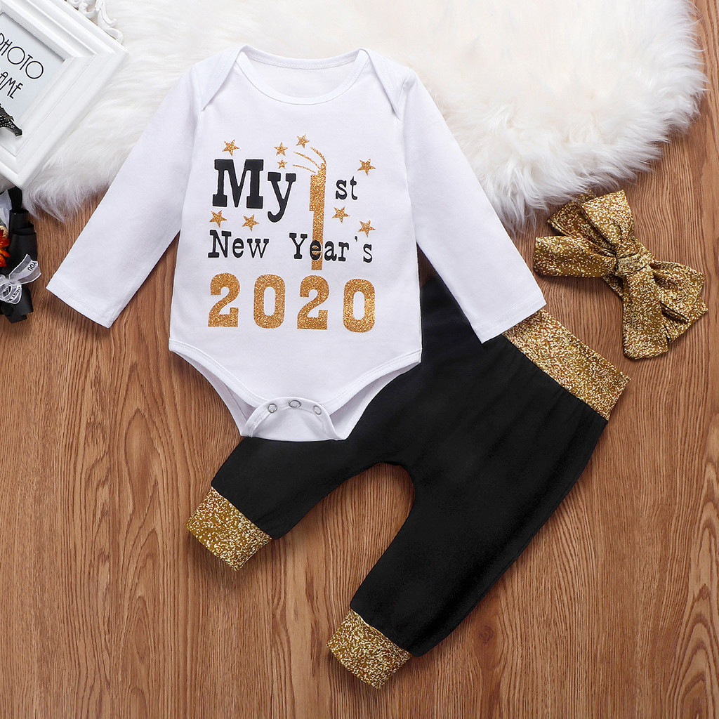 Us 2020 My 1st New Year S Kid Baby Girl Clothes Romper Pants Headband Hat Outfit