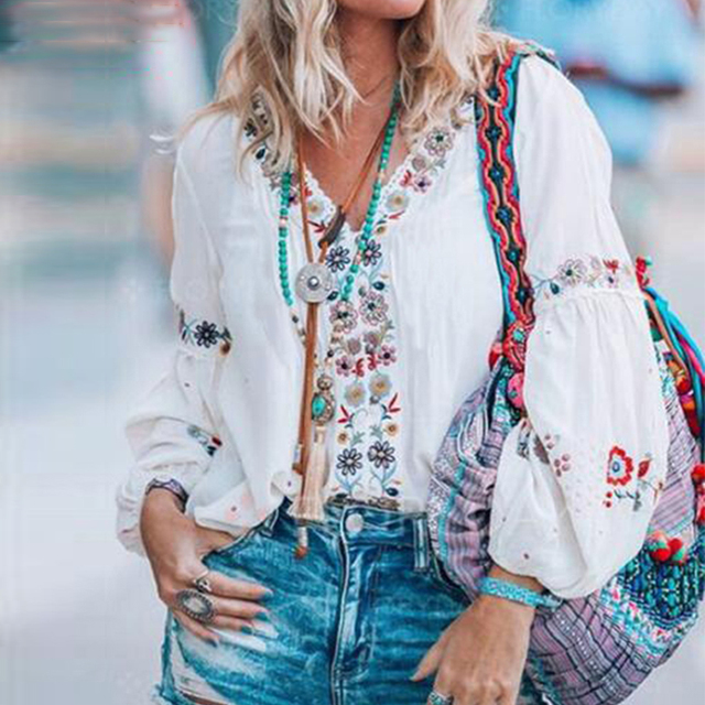 Bohemian Printed Tops Women's Autumn Blouse ZANZEA 2019 Plus Size Tunic Fashion V Neck Long Sleeve Shirts Female Casual Blusas 5