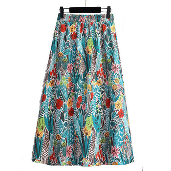 Fashionable Floral Printing Skirts for Women 2020 Summer Casual Vintage Cotton Polyester Elastic Waist Plus Size