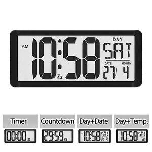 """Image 5 - TXL اضافية كبيرة الرؤية الرقمية ساعة حائط جامبو ساعة تنبيه 13.8 """"شاشة الكريستال السائل إنذار التقويم داخلي درجة الحرارة البطارية بالطاقة"""