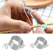 Швейные инструменты из нержавеющей стали пряжа Threader палец кольцо шерстяная нить Thimble Вязание аксессуары для шитья