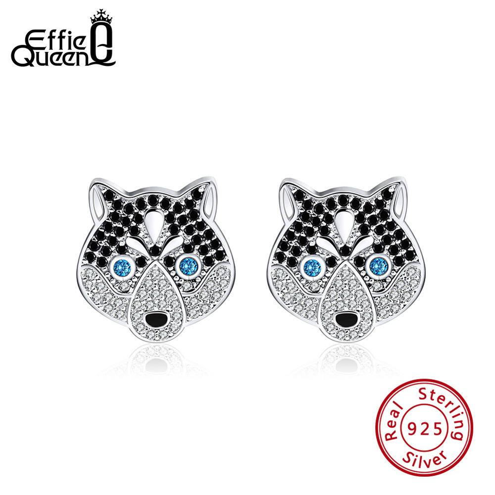 Rinntin Women 925 Sterling Silver Stud Earrings New Husky Shape AAA Cubic Zircon Black Enamel Female Earring Fine Jewelry TSE120