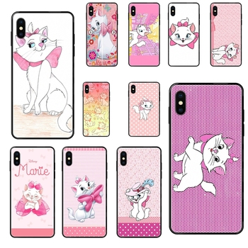 For Apple iPhone 11 12 Pro 5 5S SE 5C 6 6S 7 8 X XR XS Plus Max Greatest Marie Aristocats Black Soft Fashion Mobile Phone image