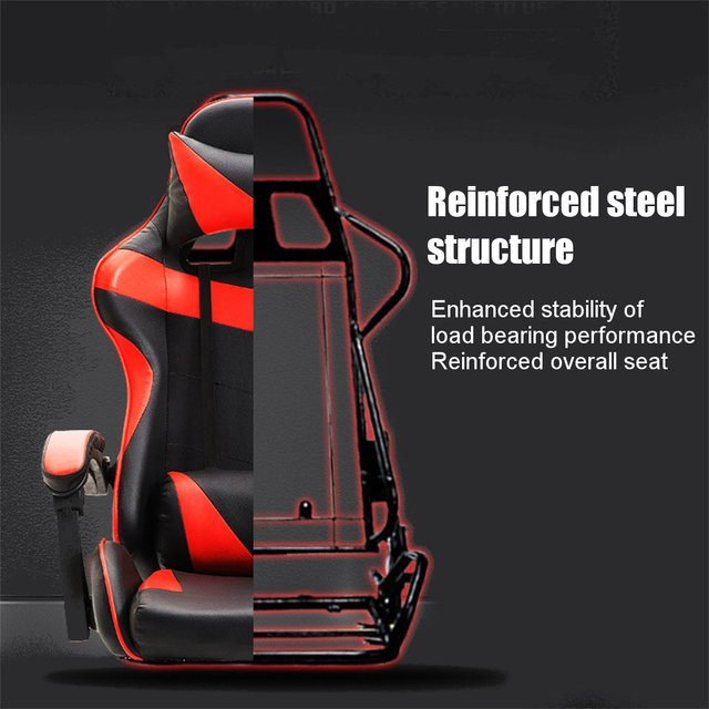 Professional PU Leather Racing Gaming Chair Office High Back Ergonomic Recliner With Footrest Computer Chair Furniture 5 Colors 4