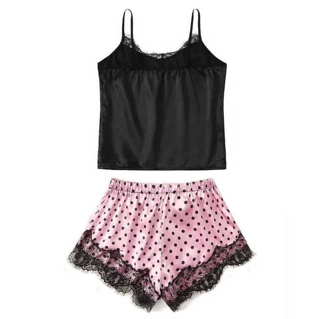 Women's Sexy Lace  & Satin Camisole And Shorts Sleepwear Set