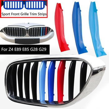 3Pcs For BMW Z4 E89 E85 G28 G29 2002-2020 M Sport Performance Power Motorsport Car Front Grille Trim Bumper Strips Cover Sticker image