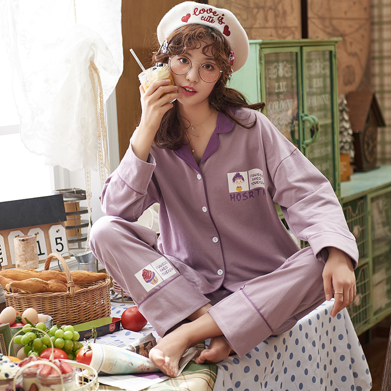 [Jun Xin] Spring Korean-style Fold-down Collar Cardigan Cartoon Sweet Loose-Fit 6535 Cotton Homewear Set Two-Piece Set