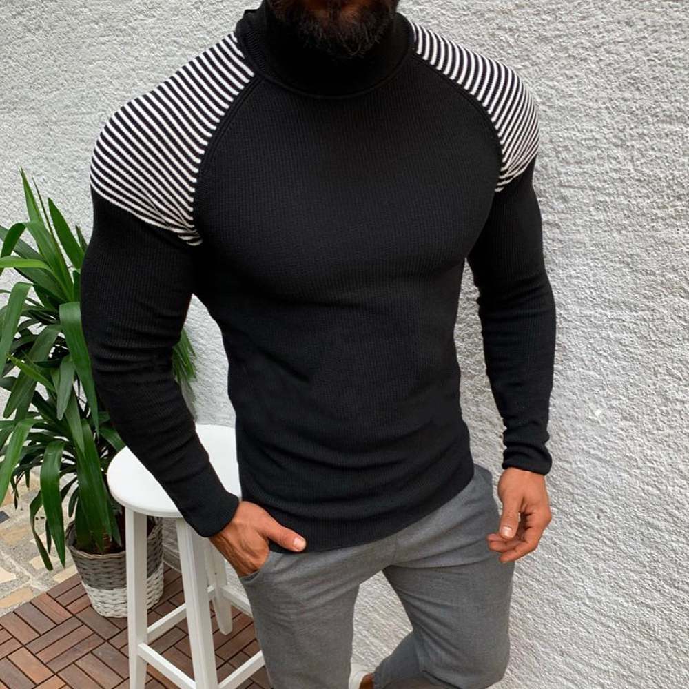 DIHOPE New Autumn Winter Men Sweaters Mens Turtleneck Solid Color Casual Sweaters Male Slim Fit Brand Knitted Pulloverse S-3XL