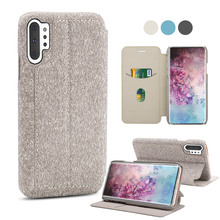 купить For Samsung Galaxy Note 10 6.3 Case Fabric Flip Stand Wallet Cover with Card Slot for Samsung Note 10 Plus Note 10+ Case Luxury по цене 275.87 рублей